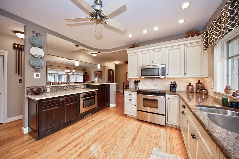 kitchen with granite & marble counter tops