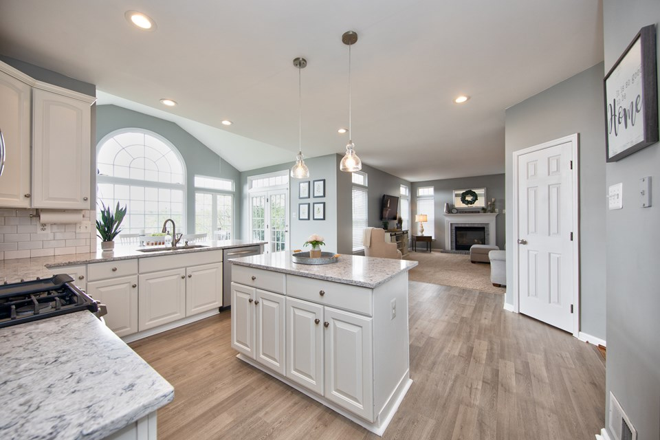 open floor plan from kitchen to family room
