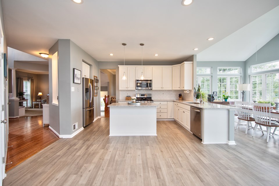 large open kitchen with island