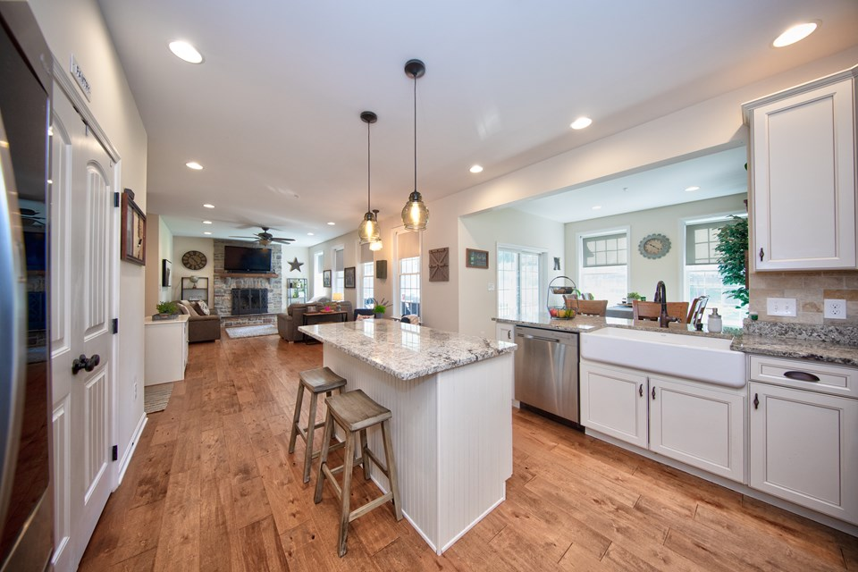 gourmet kitchen with granite counter tops & island