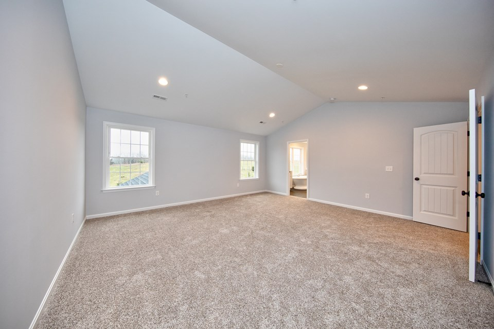 master bedroom with vaulted ceilings & walk in closet